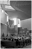 Sunday mass in the Cathedral of our Lady of the Angels. Los Angeles, California, USA ( black and white)