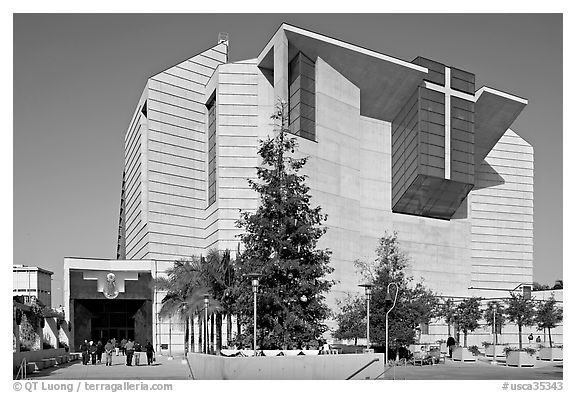 Ochre mantle of Cathedral of our Lady of the Angels. Los Angeles, California, USA (black and white)