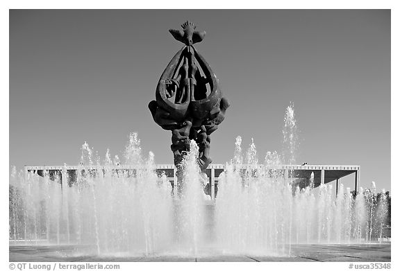 Peace on Earth sculpture by Jacques Lipchitz,  Music Center. Los Angeles, California, USA (black and white)