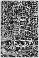 Detail, Watts towers. Watts, Los Angeles, California, USA ( black and white)