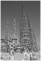 Overview of the Watts Towers. Watts, Los Angeles, California, USA ( black and white)