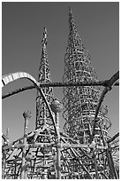 Whimsical Watts Towers. Watts, Los Angeles, California, USA ( black and white)