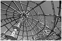 Tower seen from Gazebo, Watts Towers. Watts, Los Angeles, California, USA ( black and white)