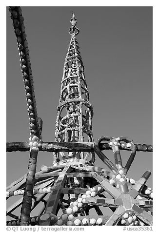 Detail of Watts Towers showing a heart. Watts, Los Angeles, California, USA (black and white)