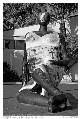 Sculpture, Watts Towers Art Center. Watts, Los Angeles, California, USA (black and white)