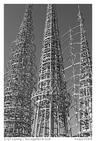 Three towers and hearts, Watts Towers. Watts, Los Angeles, California, USA