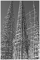 Three towers and hearts, Watts Towers. Watts, Los Angeles, California, USA ( black and white)
