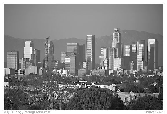 Downtown skyline, late afternoon. Los Angeles, California, USA (black and white)