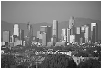 Downtown skyline, late afternoon. Los Angeles, California, USA ( black and white)