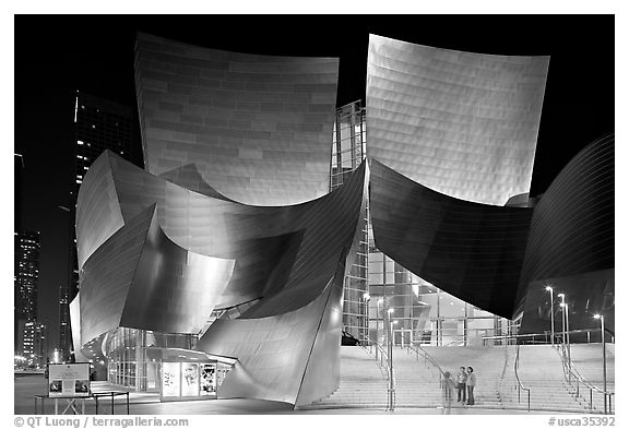 Entrance of the Walt Disney Concert Hall at night. Los Angeles, California, USA (black and white)