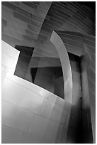 Steel curves of the Walt Disney Concert Hall at night. Los Angeles, California, USA ( black and white)