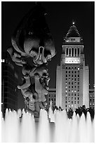 Peace on Earth sculpture, fountain, and City Hall at night. Los Angeles, California, USA ( black and white)