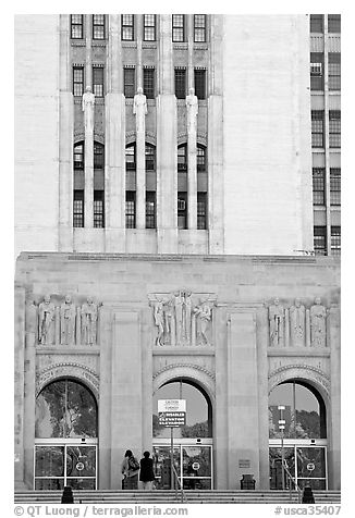 Art Deco facade of the Los Angeles County Hospital. Los Angeles, California, USA (black and white)