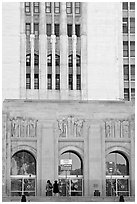 Art Deco facade of the Los Angeles County Hospital. Los Angeles, California, USA ( black and white)