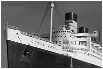 Queen Mary ocean liner. Long Beach, Los Angeles, California, USA ( black and white)