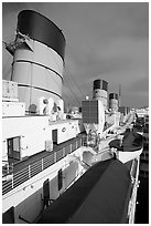 Smokestacks and liferafts, Queen Mary. Long Beach, Los Angeles, California, USA (black and white)