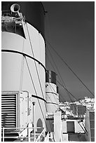 Smokestacks and air vents, Queen Mary. Long Beach, Los Angeles, California, USA ( black and white)