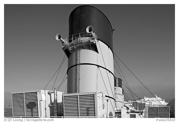 Chimneys and air input grids on the Queen Mary liner. Long Beach, Los Angeles, California, USA (black and white)