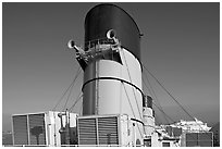 Chimneys and air input grids on the Queen Mary liner. Long Beach, Los Angeles, California, USA ( black and white)