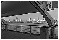 Skyline of Long Beach, seen from the deck of the Queen Mary. Long Beach, Los Angeles, California, USA (black and white)