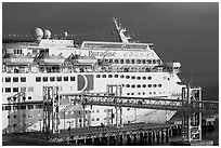 Cruise ship being boarded. Long Beach, Los Angeles, California, USA (black and white)