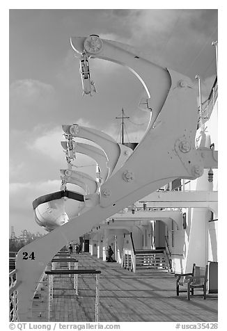 Passenger deck, Queen Mary. Long Beach, Los Angeles, California, USA (black and white)