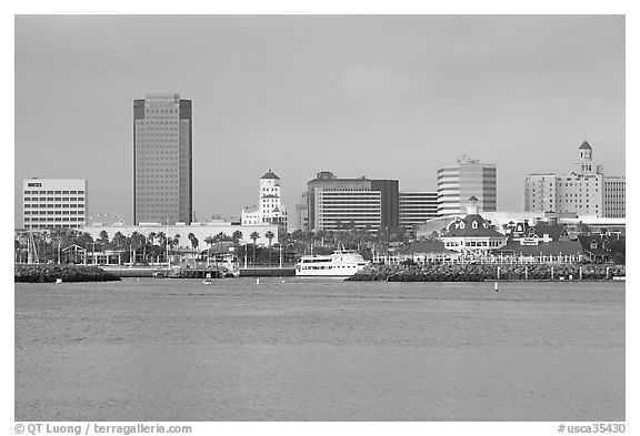Skyline, late afternoon. Long Beach, Los Angeles, California, USA (black and white)