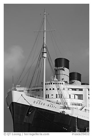 Black And White Picture Photo Queen Mary Cruise Ship