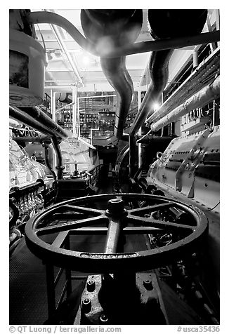 Boiler room of the Queen Mary. Long Beach, Los Angeles, California, USA