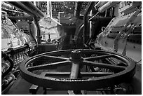 Engine room of the Queen Mary. Long Beach, Los Angeles, California, USA (black and white)