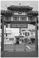 Gate, Chinatown. Los Angeles, California, USA ( black and white)