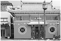 Building in Chinese style, Chinatown. Los Angeles, California, USA ( black and white)