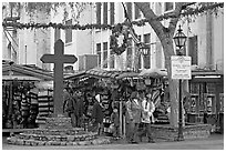 Stalls on Olvera Street, El Pueblo historic district. Los Angeles, California, USA ( black and white)