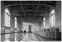 Hall in Union Station. Los Angeles, California, USA ( black and white)