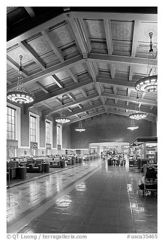 Interior of Union Station. Los Angeles, California, USA (black and white)