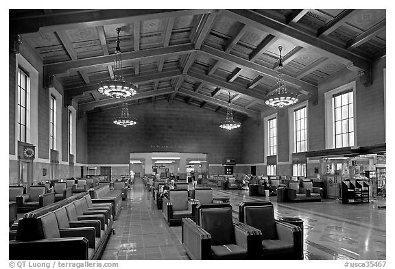 Waiting room in Union Station. Los Angeles, California, USA (black and white)