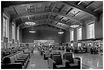 Waiting room in Union Station. Los Angeles, California, USA ( black and white)