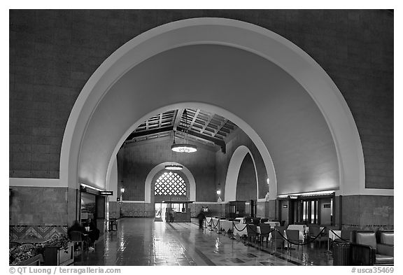 Entrance hall in Union Station. Los Angeles, California, USA (black and white)