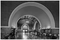 Entrance hall in Union Station. Los Angeles, California, USA ( black and white)