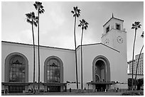 Union Station in mixed Art Deco and Mission styles. Los Angeles, California, USA ( black and white)