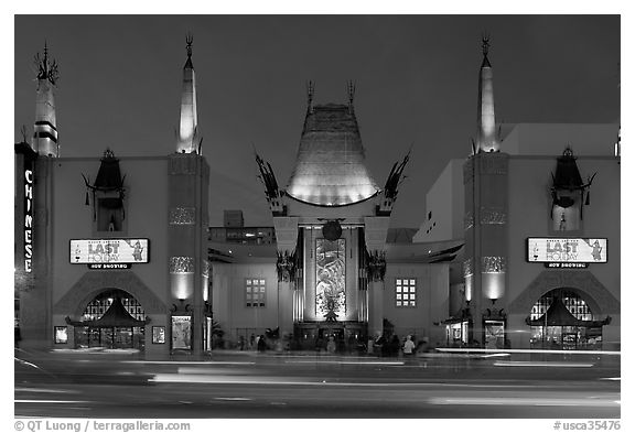 Grauman Chinese Theatre at dusk. Hollywood, Los Angeles, California, USA (black and white)