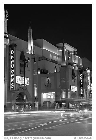 Grauman Chinese Theater at night. Hollywood, Los Angeles, California, USA (black and white)