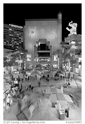 Hollywood and Highland shopping and entertainment complex at night. Hollywood, Los Angeles, California, USA (black and white)