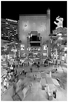 Hollywood and Highland shopping and entertainment complex at night. Hollywood, Los Angeles, California, USA ( black and white)