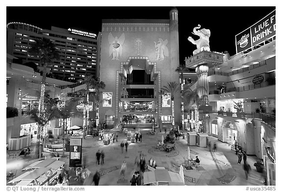 Hollywood and Highland shopping complex at night. Hollywood, Los Angeles, California, USA (black and white)