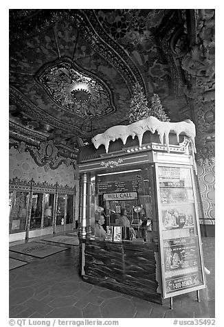 Box office of El Capitan Theatre. Hollywood, Los Angeles, California, USA (black and white)