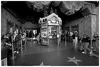 Walk of fame and entrance of El Capitan Theater. Hollywood, Los Angeles, California, USA ( black and white)