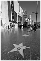 Star bearing the name of Antony Hopkins on the walk of fame. Hollywood, Los Angeles, California, USA (black and white)