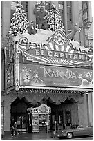 Spanish colonial facade of the El Capitan theatre. Hollywood, Los Angeles, California, USA ( black and white)