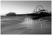 Pier and Ferris Wheel at sunset. Santa Monica, Los Angeles, California, USA ( black and white)